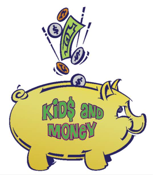 Yellow piggy bank with Kids and Money in Green letters on the side with a dollar bill and change falling from above into the bank below