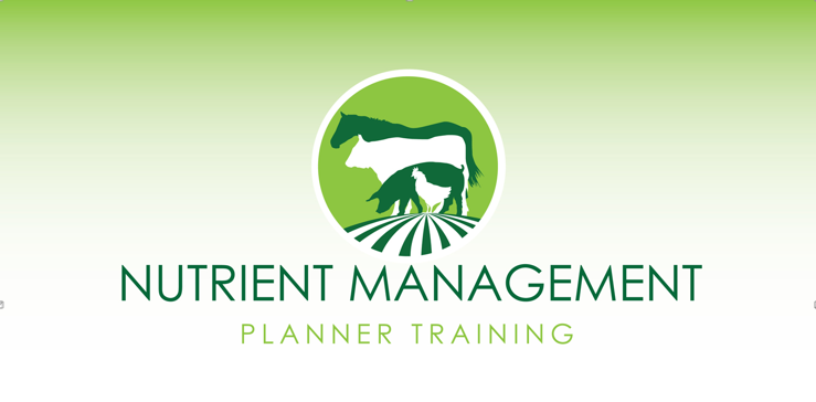 Nutrient Management Logo Green background with circle behind horse silhouette cow silhouette pig silhouette and chicken silhouette with the words Nutrient Management Planner Training below the animals